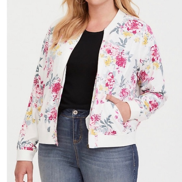 Torrid floral bomber jacket size 4